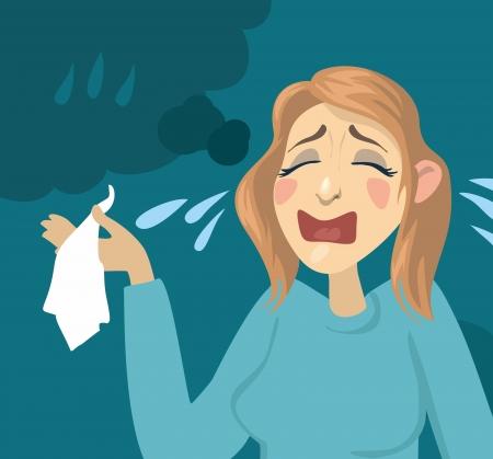 Cartoon girl crying  girl with a handkerchief and tears