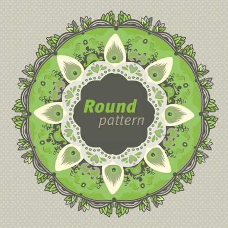 Ornamental round seamless lace pattern. green gray Vector