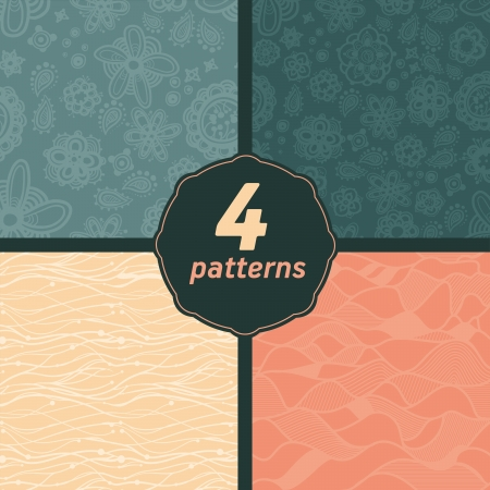 Set Seamless floral and line  Patterns . Pastel Abstract ornaments Ilustração