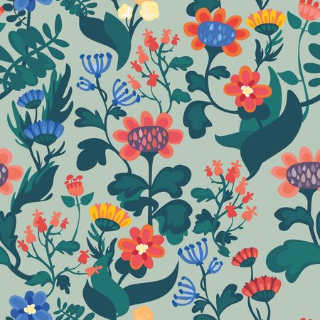 Seamless floral background with stylized flowers  Floral background  Seamless floral pattern Vector pattern  Background with flowers  Vector