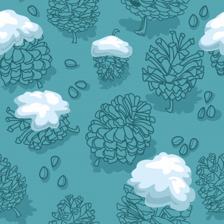 seamless vector background with cones and snow Vector