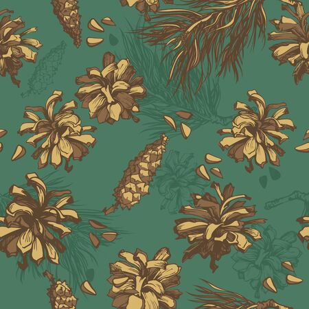 forest background  seamless pattern with fir cones