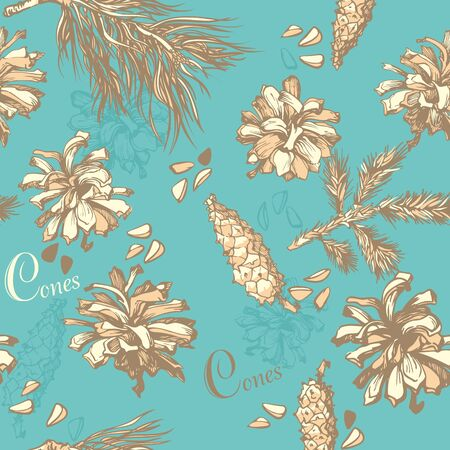 forest background  seamless pattern with fir cones Vector