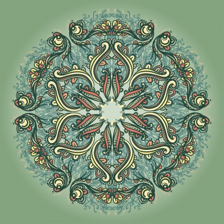 Ornamental round floral lace pattern  kaleidoscopic floral pattern, mandala
