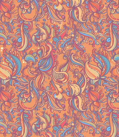 Floral paisley  vector colorful seamless pattern Illustration