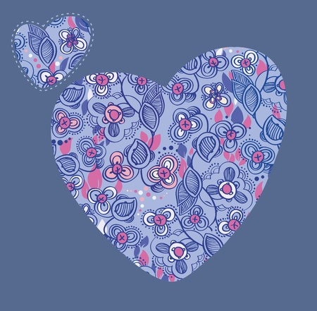 Floral heart  Floral linear pattern in the shape of a heart Vector