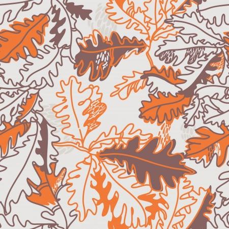 foglie di quercia: sfondo autunno con foglie di quercia, modello seamless Vettoriali