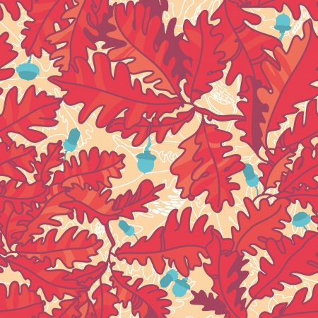 autumn background with oak leaves , seamless pattern Vector