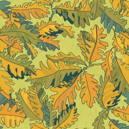 foglie di quercia: autunno sfondo con foglie di quercia, modello senza soluzione di continuit�