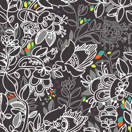floral seamless black and white pattern Vector