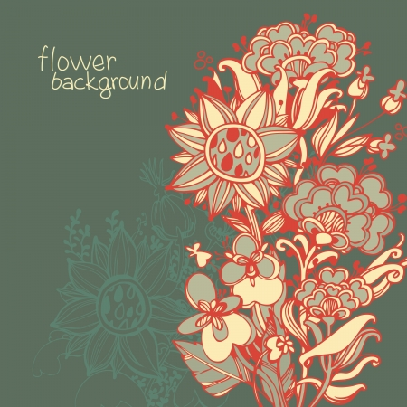 floral abstract background. stylized plants and leaves Vector