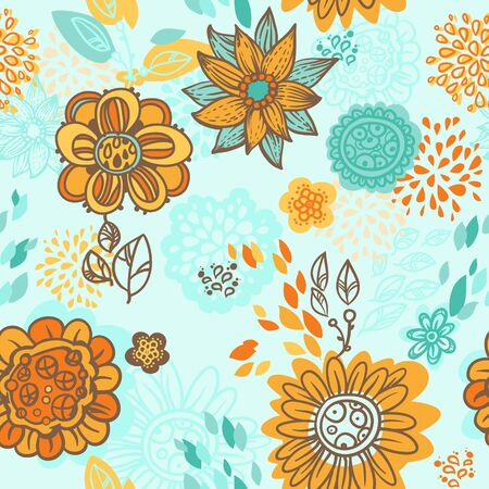 floral seamless pattern, orange blue design Vector