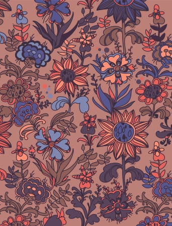 floral seamless pattern, pink blue design Vector