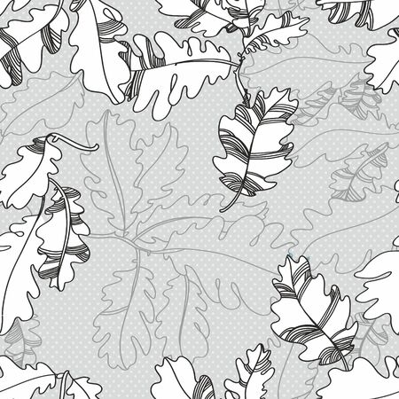 pattern of oak autumn leaves  seamless pattern  brighpattern of oak autumn leaves  seamless pattern  bright twigs and leaves  white black colort