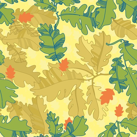 pattern of oak autumn leaves  seamless pattern  brighpattern of oak autumn leaves  seamless pattern  bright twigs and leaves  yellow-green colort twigs and leaves  yellow-green color Vector