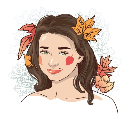 autumn  a beautiful young girl with autumn leaves in her hair Vector