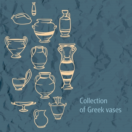Bright beautiful background clay Greek vases. collection of vases Vector