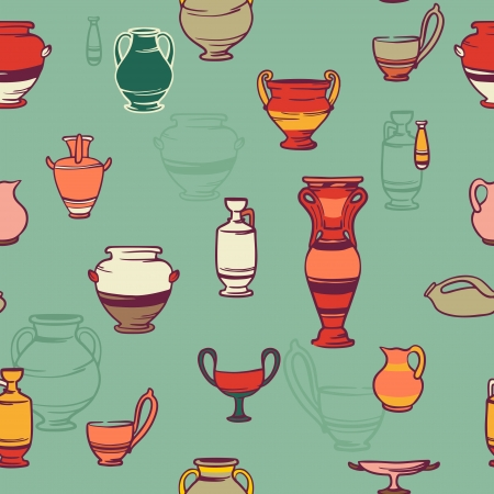 Bright beautiful background clay Greek vases. collection of vases
