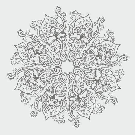 Ornamental ronde gebloemd kant patroon. caleidoscopisch bloemmotief, mandala.