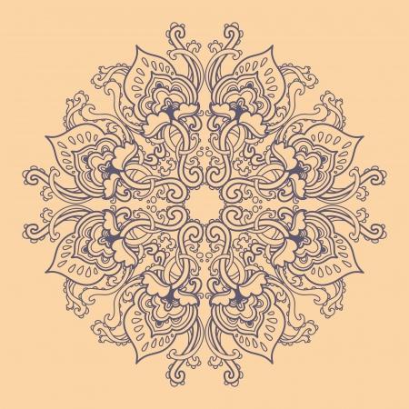 曼陀羅: 装飾の丸い花のレース パターン。万華鏡のような花模様、マンダラです。