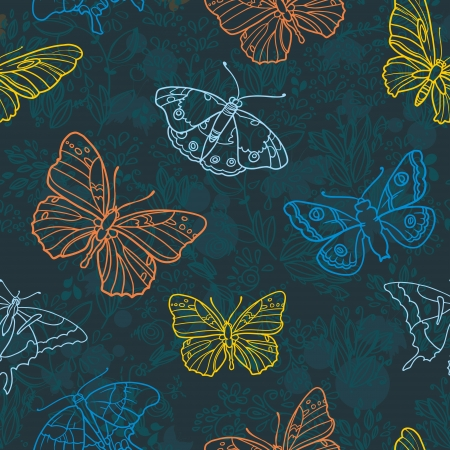 Seamless highly detailed background with butterflies. Vector retro background