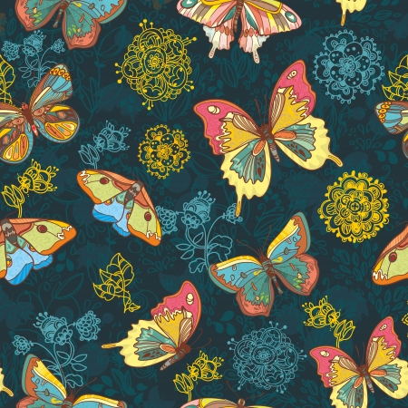 Seamless highly detailed background with butterflies. Vector retro background Vector