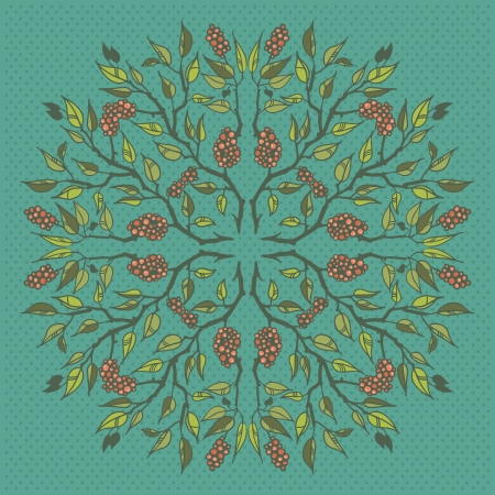 Round floral pattern with branches leaves and berries