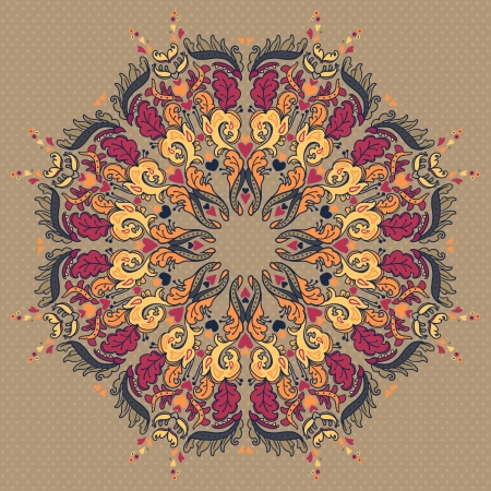 Ornamental round floral lace pattern. kaleidoscopic floral pattern, mandala.