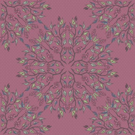 Round floral pattern with branches leaves and berries Vector