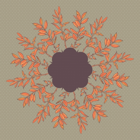 Round floral pattern with autumn branches leaves Vector