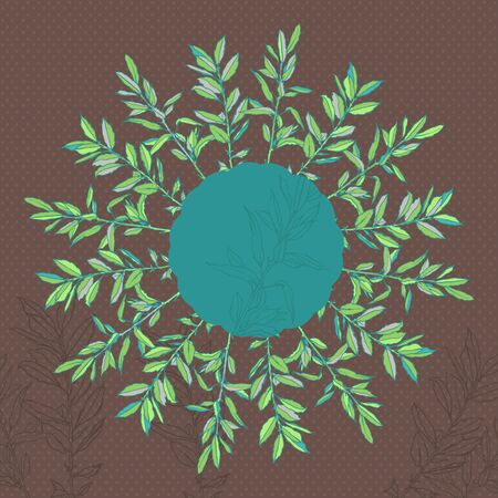 Round floral pattern with autumn branches leaves