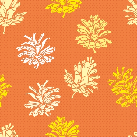rowan tree: seamless vector background with cones.Vector contour patterns