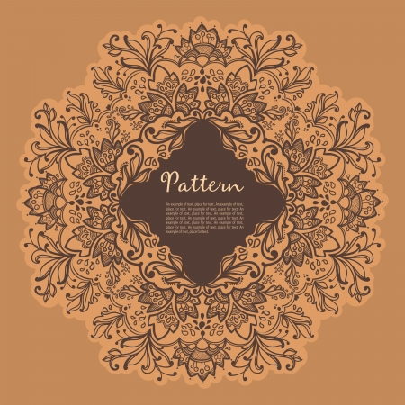 Ornamental round floral lace pattern.  space for text . kaleidoscopic floral pattern, mandala.