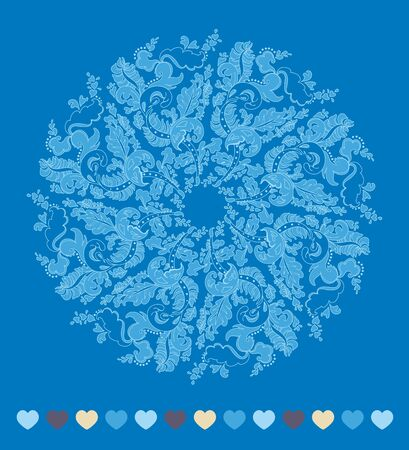 Ornamental round snowflake. lace pattern. cold winter colors Vector