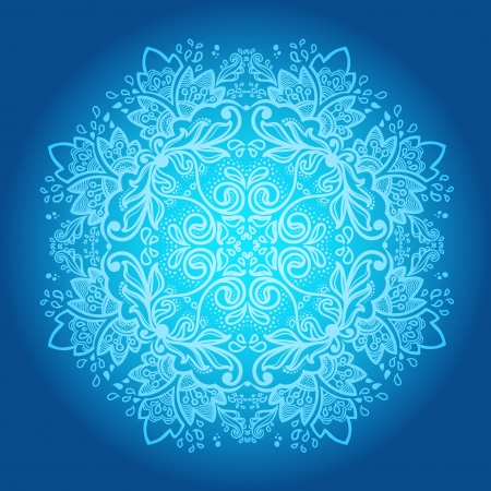 Ornamental round snowflake  lace pattern  cold winter colors  Vector