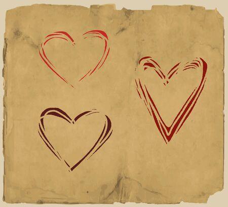 paper grunge hearts Stock Vector - 15757059