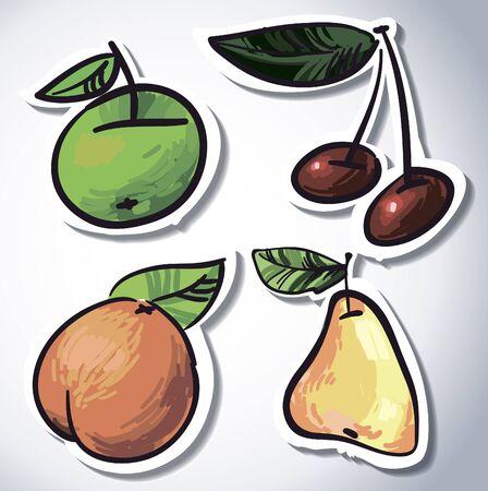 fruit set  Illustration - Fresh stylized Fruit -  Background Stock Vector - 16291513