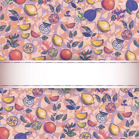 seamless pattern of fruit  Illustration - Fresh stylized Fruit -  Background Stock Vector - 16291524