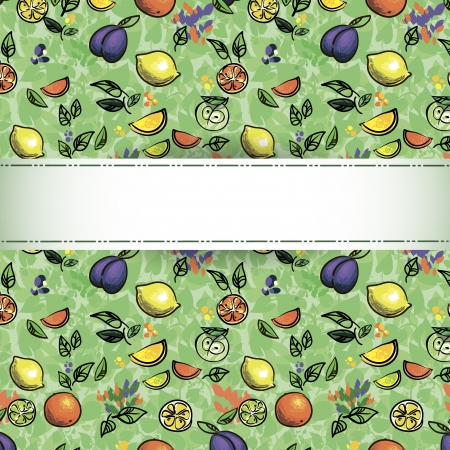 seamless pattern of fruit  Illustration - Fresh stylized Fruit   Background  Stock Vector - 16291523
