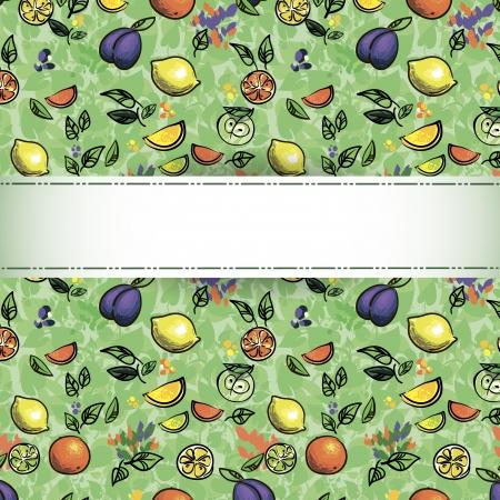 kitchen garden: seamless pattern of fruit  Illustration - Fresh stylized Fruit   Background