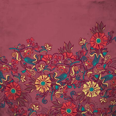 ornamental  floral  background with many details Vector