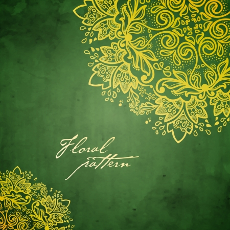 calligraphie arabe: Ornement rond, floral, fond kal�idoscopique dentelle motif floral, mandala Illustration