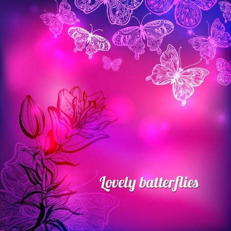 Butterflies floral vector valentine background Stock Vector - 17563326