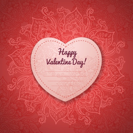Gift Card. Valentines day. Happy Valentines Day frame.  Vector