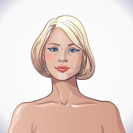 sociable: young blonde girl on white background. Illustration