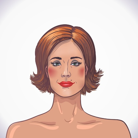 golden hair: brunette beautiful woman. red tape. facial and body care Illustration