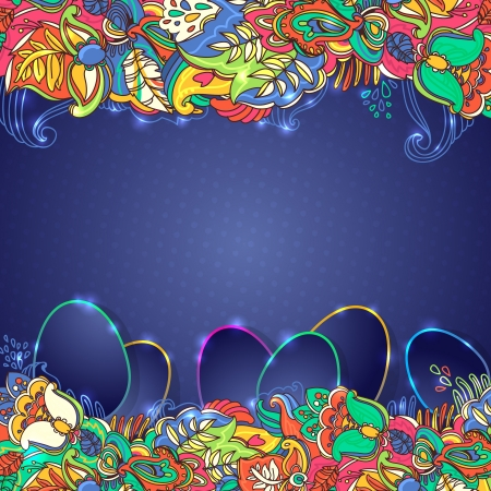 easter eggs floral abstract background   stylized plants and leaves Vector