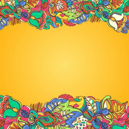 floral abstract background  yellow stylized plants and leaves Vector