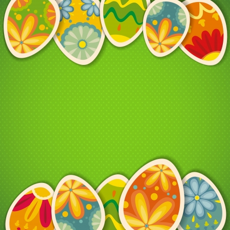 Happy Easter card template, colored eggs and polka dot pattern Illustration