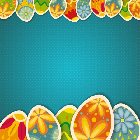 cartoon easter: Happy Easter card template, colored eggs and polka dot pattern Illustration
